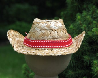 Sock Monkey Straw Cowboy Hat Handmade Accessory BopBo the Monkey