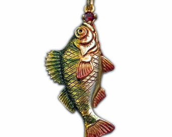 Perch necklace. Now 1/2 price , Enamelled silver and garnet fishing pendant.