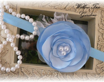 Blue Satin Lollipop Baby Headband . . . Photo Prop/Baby/Toddler/Girl/Adult Headband