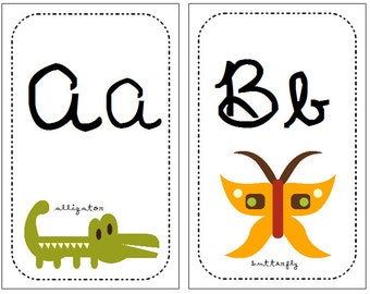 Cursive Alphabet Wall Cards, Flashcards Classroom Elementary Handwriting