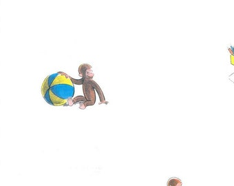 Curious George Childrens Wallpaper - Boys, Kids, Monkey, Baby Nursery, Play Room, Ball, Storybook Decor - By The Yard - YH1523 fl