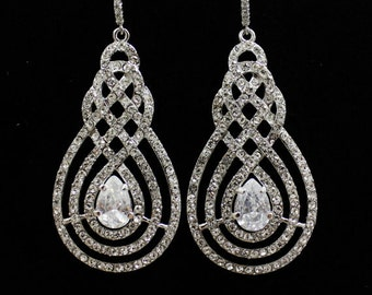 Pave Bridal Chandelier Earrings, Vintage Art Deco Crystal Earrings, Bridal Jewelry, Wedding Jewelry, Silver SWIRL