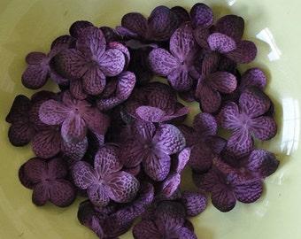 Silk Flowers - Artificial Flowers - 20 Hydrangea Flower Petals - Purple - DIY Headbands