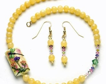 Set: Necklace and Earrings with Yellow Jade Handmade Lampwork and Swarovski Crystals