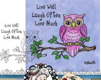 Instant Download Digital Digi Stamps Owl ID:NV-FC0008 By Nana Vic