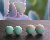 2 Pair Minimal Concrete  Sea Foam Green Pearl Earrings by Raw Minimalist - Simple modern jewelry for a creative body - FREE SHIPPING