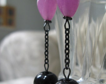 goth radiant orchid earrings, pink and black earrings, black chain, dramatic earrings, bold,  flair earrings - Ball and Chain
