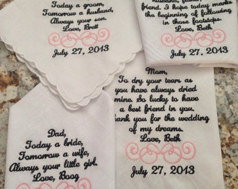 Set of four 4 personalized custom wedding handkerchiefs