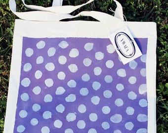 Sac cabas violet à pois argenté / Grand sac fourre-tout / réutilisable / peint à la main