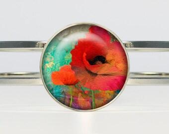 Poppies bracelet Poppies bracelet Poppies jewelry flower bracelet red turquoise