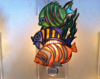 Three Tropical fish Night Light  4 watt  on/off switch