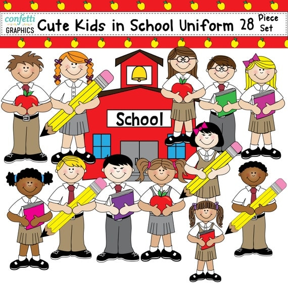 Kids Clip Art In Cute School Uniform Student Children School