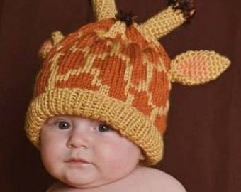 Baby Giraffe Hat Knitting Pattern : Baby Giraffe Hat Crochet Newborn NB Beanie Boy Girl Costume