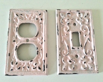 shabby chic cover, light switch, outlet, light pink, ornate, cast iron
