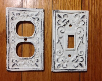 Light switch cover, or outlet cover, White, cast iron, sold separately, shabby chic