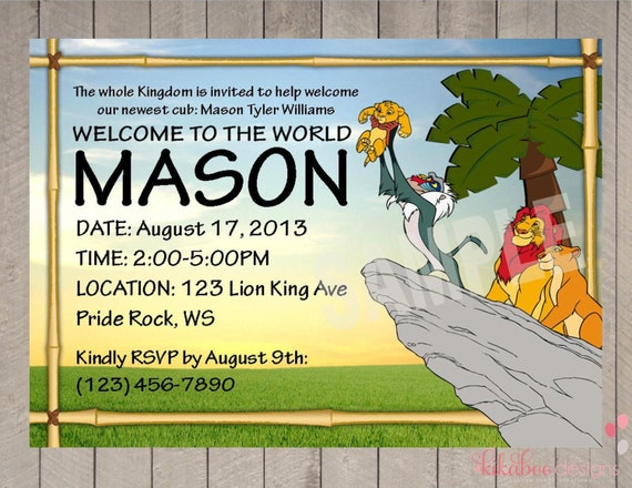 This is a graphic of Clean Printable Lion King Baby Shower Invitations