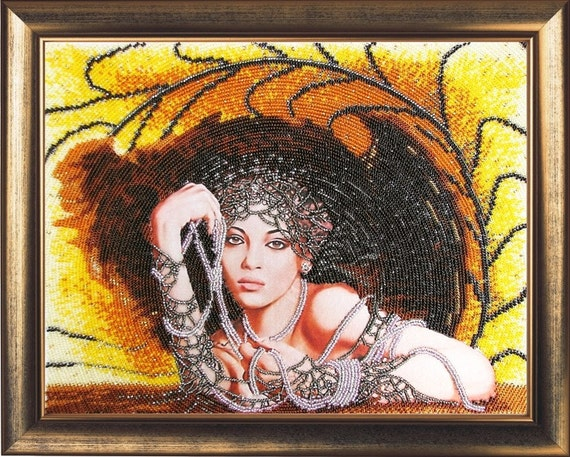 Lady In Black DIY beaded embroidery kit, bead stitching, beading on needlepoint kit, beadpoint kit