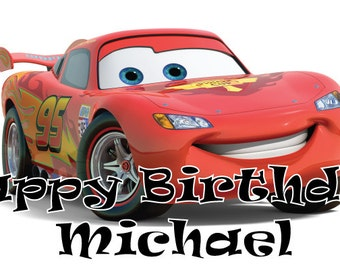 Personalized birthday banner - 4ft x 2ft - Lightning McQueen, Cars