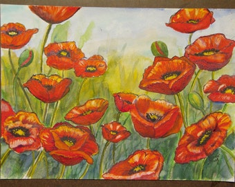"This is a print of my original watercolor painting titled "" Poppies in the Sun"". 5x7,8x10,11x14,16x24, wrapped canvas, note cards"