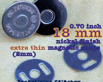 18mm extra thin magnetic snaps (2mm thin) - You Choice: 240 sets or 600 sets in Nickel or Antique Brass Finish