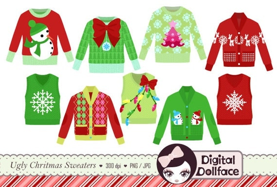 Ugly Christmas Sweater Clipart  Tacky Holiday Sweater  Party Invite    Ugly Christmas Sweaters Clipart