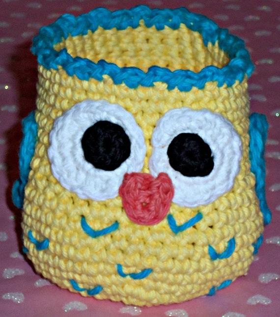 Crochet Owl Basket : Crochet Owl Basket Yellow with Turquoise by SunniesToo on Etsy