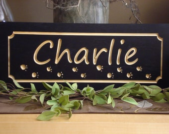 Carved Wood Signs Custom Dog Name Signs Cat Sign Name Plaque Wood Plaque Personalized wood wall art Persoanlized Pet Name