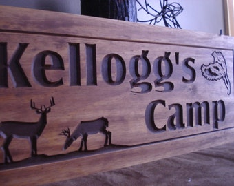 Wooden Carved Ranch Cabin Signs Last Name Family Address Plaque Gift Idea Deer Phesants Hunting Wood Wall Art Camp Sign Benchmark Signs #64