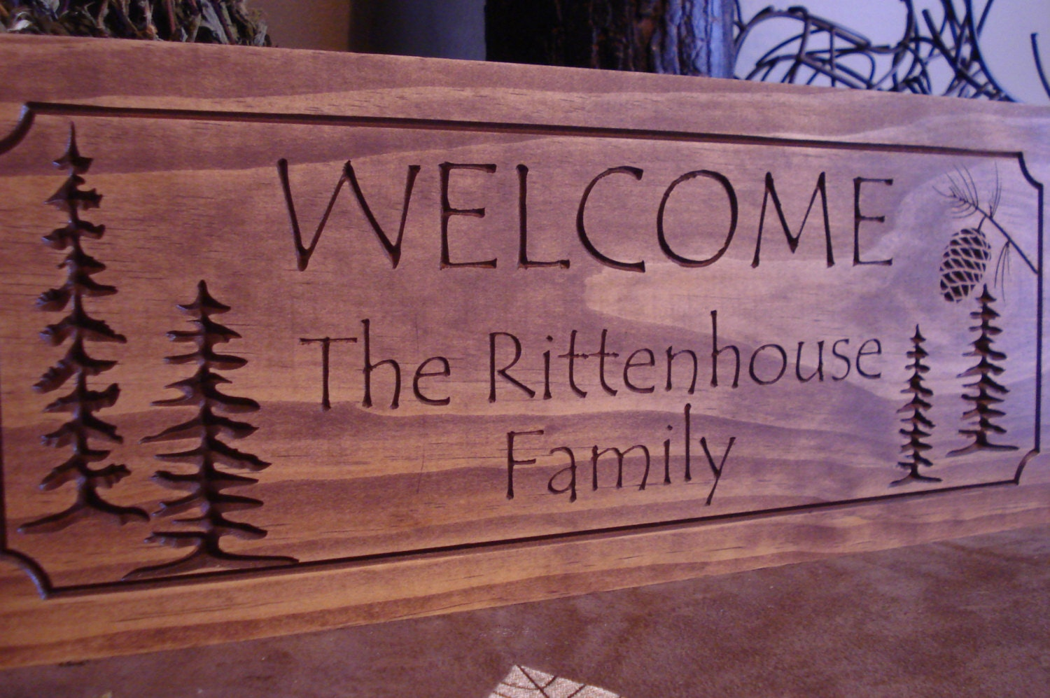 address wooden personalized sign plaque signs wood rustic cabin carved welcome pine tree custom cone etsy primitive cnc cottages