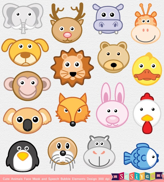 Items similar to INSTANT DOWNLOAD Party Animal Face Mask ...