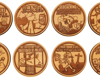 Set of 8 Wooden Geocaching Tokens / coins with funny saying great swag trade items