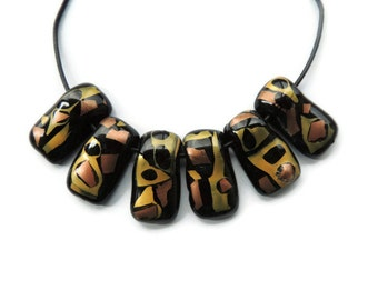 Black glass rectangles with gold, copper and black glass pieces, SUPPLY fused glass PENDANTS