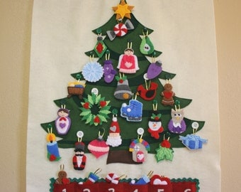 Christmas Tree Advent Calendar • 29 Ornaments • Hand Made •  Made to Order • EARLY BIRD PRICING •