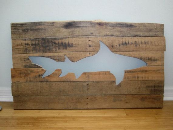 Wooden Beach Wall Decor : Pallet shark wall art wood beach home decor