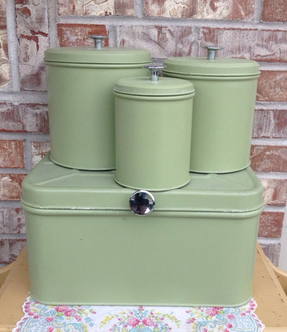 Retro Sage Pale Green Metal Canister Set 3 With Matching