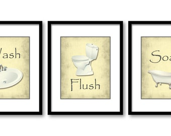 Bathroom Decor Bathroom Print Yellow Parchment Set Of 3 Bathroom Art Prints Grey Gray Flush Wash