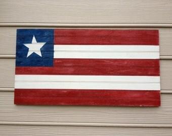 Wooden Beadboard American flag