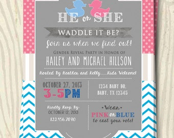 Waddle It Be - Gender Reveal Party Invitation - 5x7