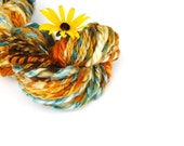 Multicolor Wool, Handspun Yarn, Superwash BFL, Blue Faced Leicester, Homespun Art Yarn, Wool Handspun, Navajo Ply Yarn, Blue Orange Homespun - WallflowerYarns