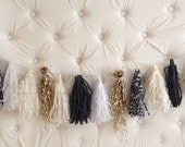 Black, White, Ivory & Gold Tassel Garland
