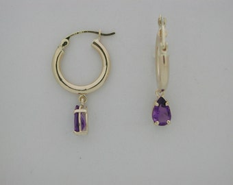 Natural Amethyst Solid 14kt Yellow Gold Hoop Earring
