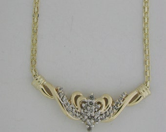 Genuine Diamond  14KT Yellow Gold Necklace