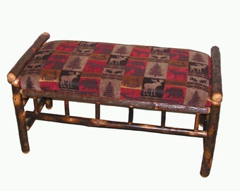 Rustic Hickory Bench upholstered with Red Cabin Fabric