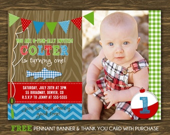 Fishing Birthday Invitation - Printable - FREE pennant banner and thank you card with purchase