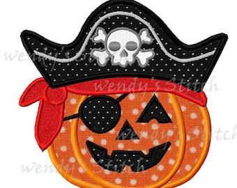 Halloween pumpkn pirate applique machine embroidery design