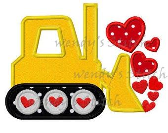 Valentine sweet hearts bulldozer applique machine embroidery design digital pattern