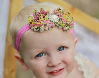 Baby Girl Headband Flower Girl Headband Baby Headband Pink Headband Newborn Baby Photo Prop Birthday Headband Baby Girl Photography Props