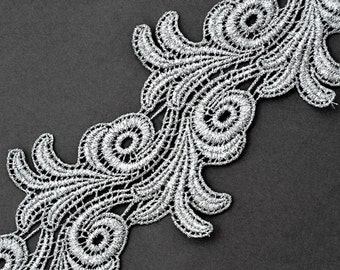 "4"" Metallic Lace Trim for Bridal, Costume or Jewelry, Crafts and Sewing, 1 Yard, Gold, Silver, LP-MX-4659"