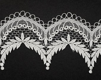 Venise Lace Ribbon Trim for bridal, apparel, home décor,  5 Inch by 1 Yard, White, ROI-1844