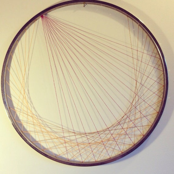 Recycled bicycle wheel wall art string art gold and for Bicycle wheel wall art